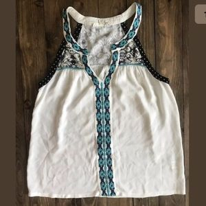 LOVESTITCH Tank Sleeveless Aztec Embroidered M